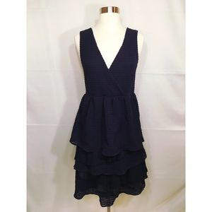 Rio Rao Anthropologie Ruffled Mix Navy Dress